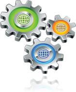 Three gears with world wide web globe symbols